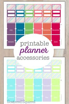 Pretty Printable Planner Accessories to help you organize your planner a little more. Included are the 2015 and 2016 colour schemes with monthly tabs and bookmarks ready to go.