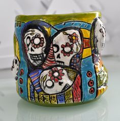 sugar skull mug by potterygod on Etsy, $35.00