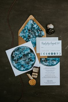 Game of Thrones Inspired My Moon & Stars Celestial Wedding Invitation Suite with galaxy watercolor, moon phases, and constellations