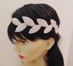 Art Deco Headband, Leaf Headband, Vine Headpiece, Silver Leaf Headband