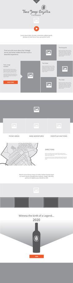 Web Design, UX, UI, Design Concept, Landing Page, Krone Champagne, Twee Jong Gezellen, Wireframes