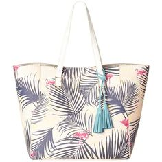 Nica Veronica Tote Bag , Palm Print ($80) ❤ liked on Polyvore featuring bags, handbags, tote bags, palm print, white handbags, white tote purse, zip top tote bag, faux-leather handbags and man bag
