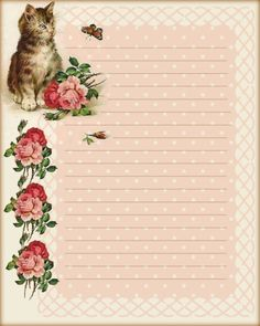 Kitten-N-Roses Stationary & Journal Cards Vintage Stationary, Printable Lined Paper, Free Printable Stationery, Origami Printables, Free Printables, Kokeshi Dolls, Stationery Paper, Note Paper, Vintage Paper