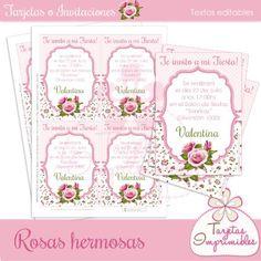 Tarjetas de invitación o felicitacón Shabby chic rosa