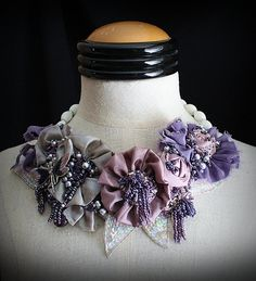 LAVENDER FIELDS Lavender Beaded Textile by carlafoxdesign on Etsy, $345.00 Diy Ribbon, Ribbon Work, Ribbon Crafts, Flower Crafts, Fabric Flower Necklace, Fabric Jewelry, Collar Floral, Handmade Necklaces, Handmade Jewelry