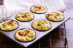 These miniature frittatas are just the right size to serve to guests.