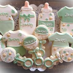 """"""" Cakes and Cookies Gateau Baby Shower, Baby Shower Treats, Baby Shower Cookies, Baby Shower Parties, Baby Boy Shower, Baby Shower Gifts, Fancy Cookies, Iced Cookies, Cute Cookies"""