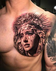 Baby Feet Tattoos, Daddy Tattoos, Baby Name Tattoos, Tattoos For Guys, Virgen Maria Tattoo, Tattoo Virgen, Chest Tattoo Heaven, Heaven Tattoos, Small Chest Tattoos