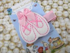 Felt Ballet Slippers Clip-Baby Hair Clip White by susiesteaparty