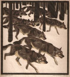 Norbertine Von Bresslern-Roth: Wolves in a winter landscape #woodblock