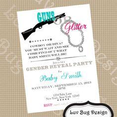 PRINTABLE Guns or Glitter Themed Baby Shower or by luvbugdesign, $14.00