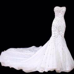Sexy White Bejeweled Petite-Plus Size Mermaid Wedding Bridal Gowns Crystal Wedding Dresses, Dream Wedding Dresses, Wedding Gowns, Mermaid Wedding Dress Bling, Glitter Wedding, Wedding White, Summer Wedding, Wedding Dress Accessories, Wedding Attire