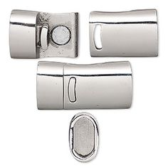 Clasp, magnetic, stainless steel, 26x13mm rectangle with glue-in ends, 10x5mm inside diameter. Sold individually.