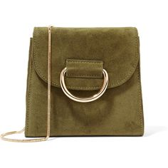 Little LiffnerTiny Box Suede Shoulder Bag (508 AUD) ❤ liked on Polyvore featuring bags, handbags, shoulder bags, forest green, shoulder handbags, embellished purses, brown shoulder bag, suede purse and brown suede handbag