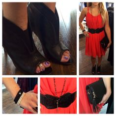 Dress by adelyn rae $79, belt $29, shoes by Madeline $65, triple wrap black bracelet $89 double silver bracelet $52 and necklace $49