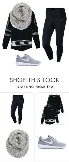 """""""nike and VS pink comfy"""" by haileyhoksbergen on Polyvore featuring NIKE, Victoria's Secret, Halogen, women's clothing, women, female, woman, misses and juniors"""