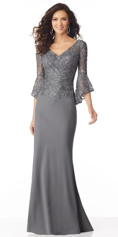 52b9386fa Stunning Lace & Chiffon V-neck Neckline Full-length Mermaid Mother Of The  Bride