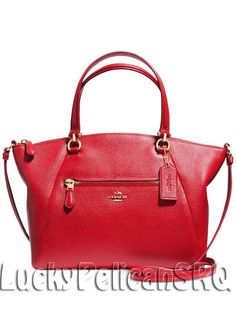COACH 34340 PRAIRIE SATCHEL IN PEBBLE LEATHER Light Gold/ Red NWT #Coach #SatchelCrfossbody