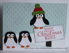 By Julie Oliver. Penguins made with the Stampin' Up owl punch. Detailed instructions on her website.
