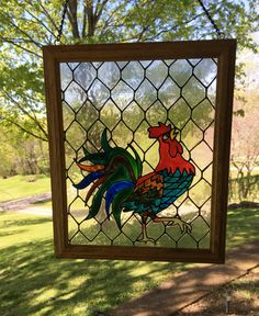 Rooster Stain Glass/ Chicken Faux Stain by CreativeGlassByBecky