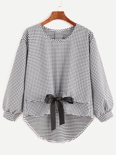 Shop Check Plaid Dip Hem Bow Tie Front Blouse at ROMWE, discover more fashion styles online. Girls Fashion Clothes, Girl Fashion, Girl Outfits, Fashion Dresses, Fashion Design, Fashion Styles, Blouse Styles, Blouse Designs, Umgestaltete Shirts