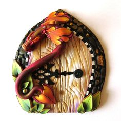 Pictures Clay Fairy Door: Dragon Fairy Door Pixie Portal Polymer Clay Home And Garden Polymer Clay Fairy, Polymer Clay Projects, Polymer Clay Creations, Clay Crafts, Pixie, Vintage Garden Decor, Clay Fairies, Fairy Doors, Clay Design