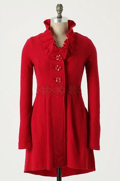 Red ruffled Alice in Autumn Sweatercoat - anthropologie.com by Charlie and Robin