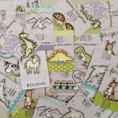 Lawn Fawn - Milo's ABCs, Let's Roll + coordinating dies, Critters from the Past + coordinating dies, Critters Down Under + coordinating dies, Critters in the Sea + coordinating dies, Critters Ever After + coordinating dies, Hedgehugs + coordinating dies, Chit Chat, # awesome, super fun set of 30 ATCs by Lexa via Flickr - Photo Sharing!