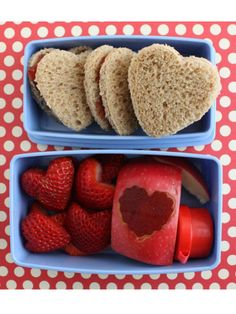 This I love you special took a little extra work, but it sure reminded Copley's kids how much mom adores them. To create heart-shaped strawberries, cut in half and sculpt with a cookie cutter. Use the same tool to slice a piece of fruit leather, and apply to the skin of an apple. They're the perfect complements to strawberry or raspberry jam sandwiches.