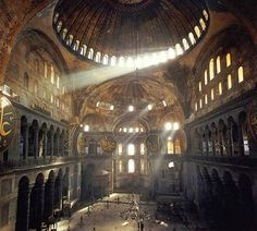 Hagia Sophia most famous building in Istanbul. Built in the 6th century as an orthodox-christian church it's been used a a mosque for ages. In 558 the original dome collapsed and was substituted with the current one, which has so many windows it seems as if it is floating.