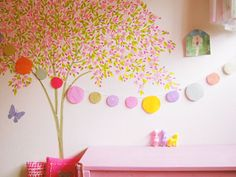 handmade garland and sakura tree made of masking tape (washi tape) Masking Tape, Mt Tape, Washi Tape, Childrens Wall Art, Home Accents, Garland, Kids Room, Room Decor, Kawaii