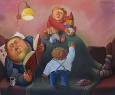 Leyendo y jugando, compartiendo en familia (ilustración de Boris Ivanov)