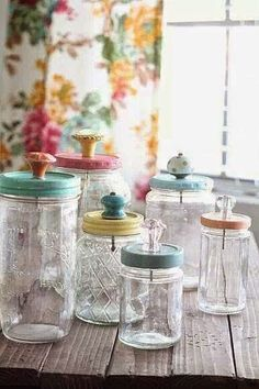 repurposed jars with pastel tops and knobs...