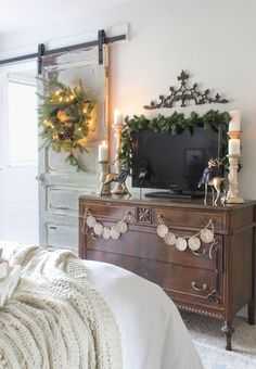 Shades of Blue Interiors blog - Vintage dresser and barn door with rustic Christmas decor