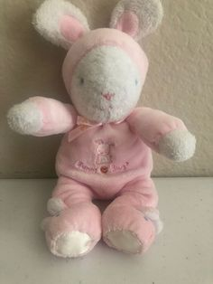 07dcacc37a Carters Child of Mine Pink White Bunny Hugs Rabbit plush Rattle Stuffed  slippers
