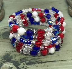 Red White and Blue Coil Bracelet, Patriotic Memory Wire Wrap Bracelet, July 4th Bracelet, New England Patriots, HoustonTexans by SuzetteGaleJewelry on Etsy
