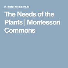 The Needs of the Plants | Montessori Commons
