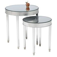 Cinema Round End Tables by Bay Trading. $335.99. 6041180   Features: -End tables. -Asian hardwood, glass, acrylic, and metal construction. -Tables are suitable as a lamp or accent table. -Mirror top is beveled. Specifications: -Assembly required. -Overall dimensions: 27.25'' H x 24.125'' W x 24.125'' D.