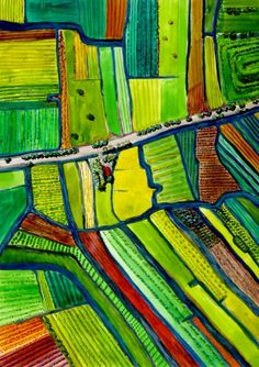 North of Amsterdam, the roads are actually canals dividing the landscape in a stunning pattern. Watercolor by FloraArtPrintShop via Etsy