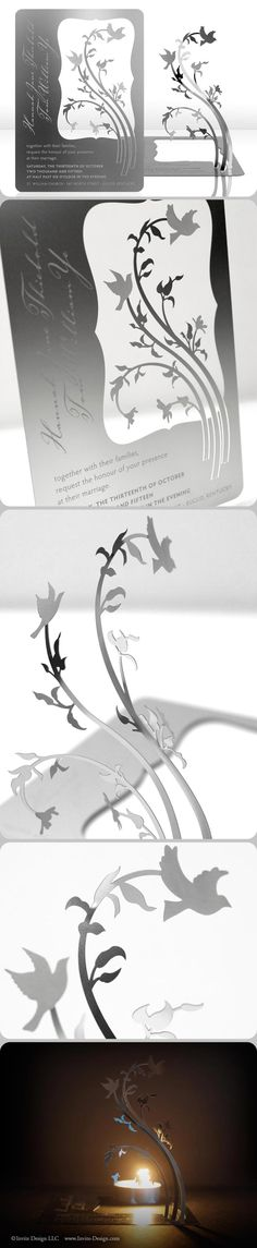 LOVE BIRDS :: Metal wedding invitation that can be transformed into a sculpture or candleholder. This modern, bird wedding invitation is eco-friendly because guests can keep it. AND it doubles as a favor! $9.25 at http://www.invite-design.com/#!product/prd12/2202323975/love-birds-invitation