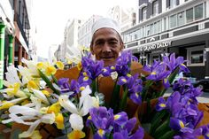 A man selling flowers in Cape Town