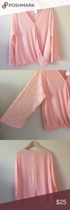 """NWT 3x pink cross front lace bell sleeve top plus NWT 3x pink cross front lace bell sleeve top . Approx 28.5""""L 25.5""""B 30""""H Tops Blouses"""