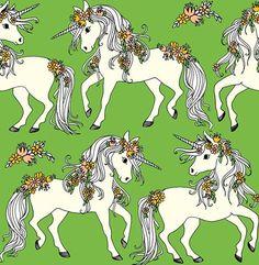 Unicorn Kiwi by Leena Renko for Pehemiä and Verson Puoti Finnish fabric Stoff Design, Fabric Design, Printing On Fabric, Kids Outfits, Unicorn, Cool Stuff, Print Fabrics, Kiwi, Animals