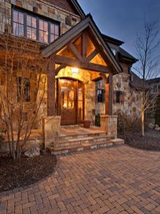 Gorgeous wooden and stone front porch ideas (34)