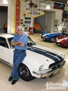 Jay Leno not only owns an entire collection of Ford Mustangs, including a 1965 Shelby GT350 and 1966 Shelby Cobra, but his cars are signed by the man behind the cars, Carroll Shelby, himself!