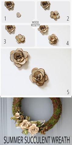 DIY wood slick rosettes and summer wreath.