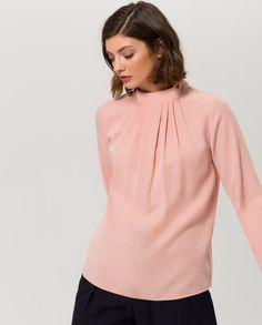 Stand Up Collar Blouse - blush - IVY & OAK