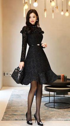 Park Da Hyun sexy dress with sheer black pantyhose and heels