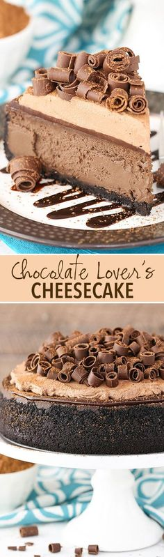 Full of chocolate flavor and topped with chocolate ganache and chocolate whipped cream! Chocolate Cheesecake, Chocolate Flavors, Chocolate Ganache, Chocolate Desserts, Chocolate Whipped Cream, Homemade Chocolate, Cheesecake Recipes, Dessert Recipes, Savoury Cake