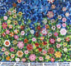 Grandma's Garden finished in 2012 by Marcia McDade--hand pieced and hand quilted by Cedar Grove Quilters